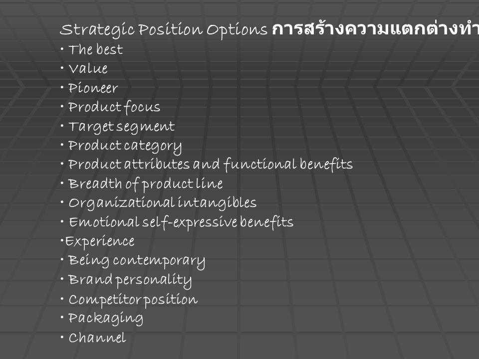 Strategic Position Options การสร้างความแตกต่างทำได้หลากหลาย