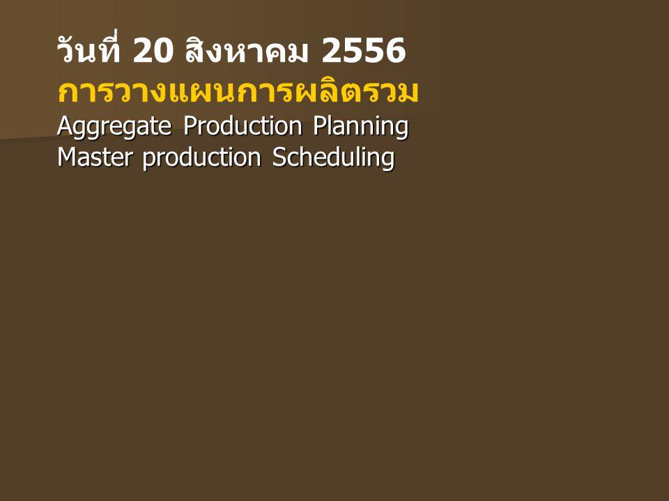 วันที่ 20 สิงหาคม 2556 การวางแผนการผลิตรวม