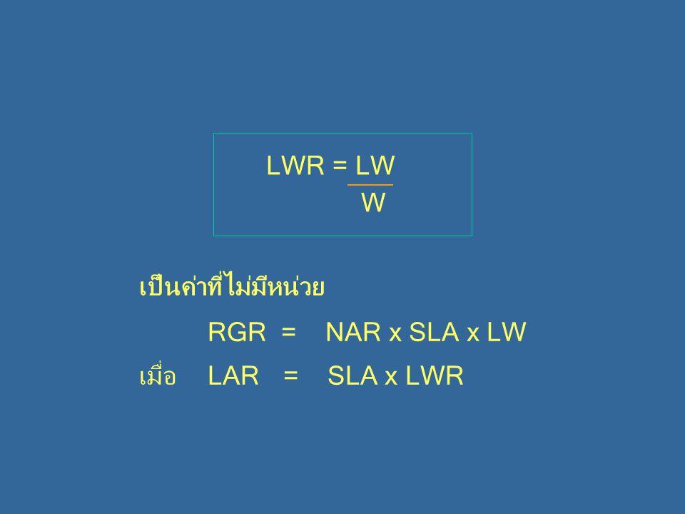 LWR = LW W เป็นค่าที่ไม่มีหน่วย RGR = NAR x SLA x LW เมื่อ LAR = SLA x LWR