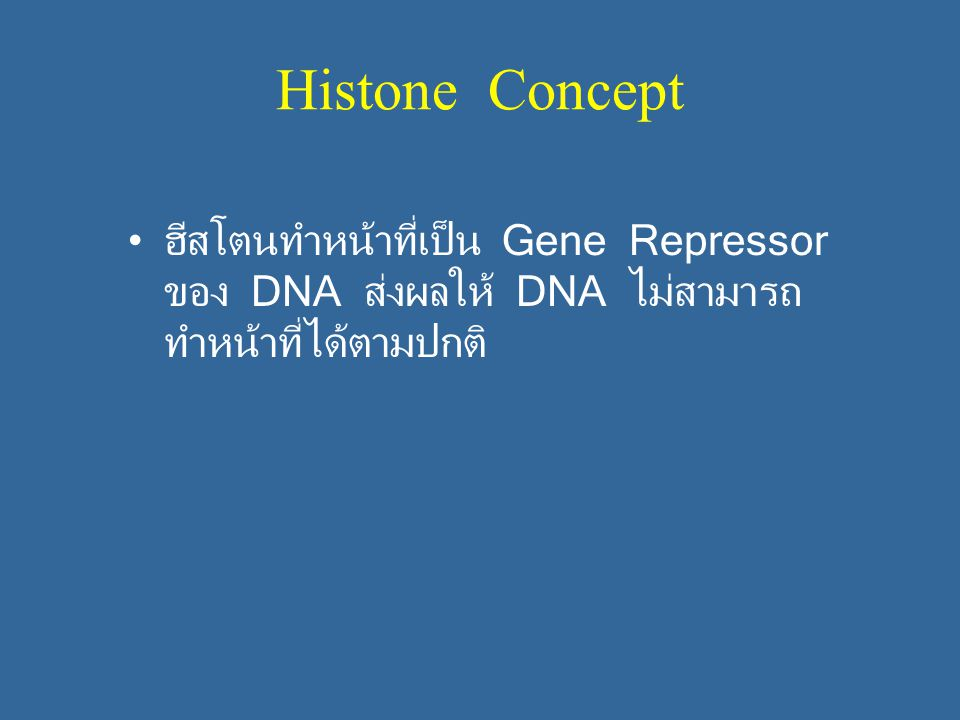 Histone Concept ฮีสโตนทำหน้าที่เป็น Gene Repressor ของ DNA ส่งผลให้ DNA ไม่สามารถทำหน้าที่ได้ตามปกติ