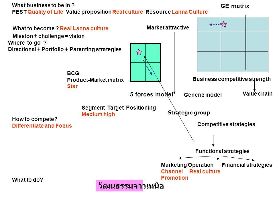 วัฒนธรรมจาวเหนือ GE matrix 5 forces model What business to be in