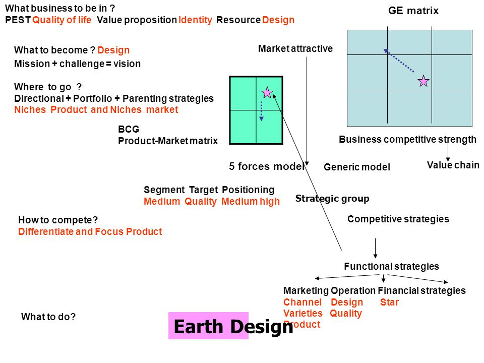 Earth Design GE matrix 5 forces model What business to be in
