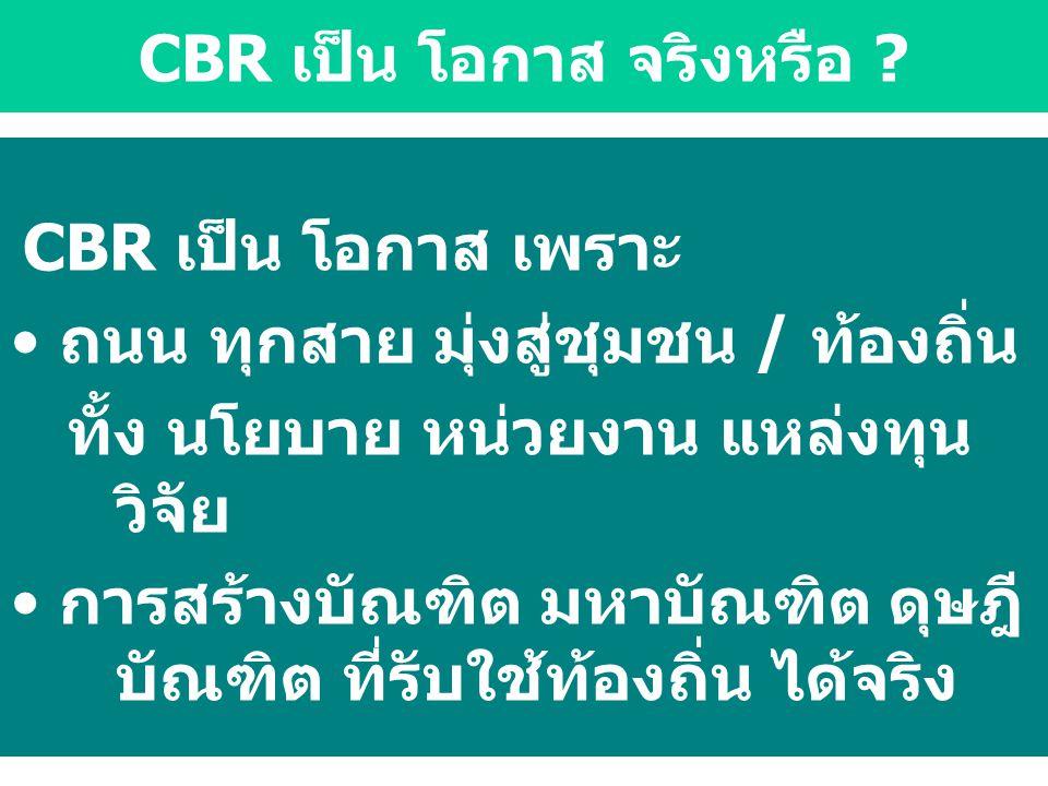 CBR เป็น โอกาส จริงหรือ