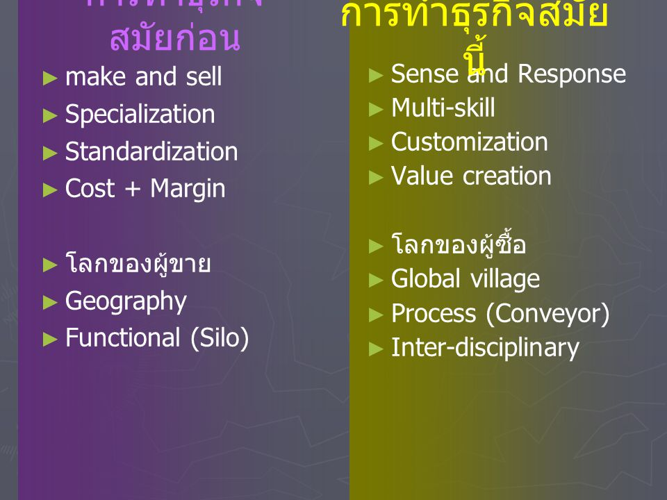 การทำธุรกิจสมัยนี้ การทำธุรกิจสมัยก่อน make and sell Specialization