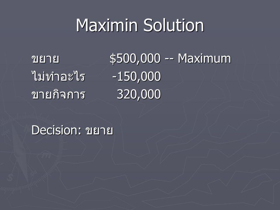 Maximin Solution ขยาย $500,000 -- Maximum ไม่ทำอะไร -150,000