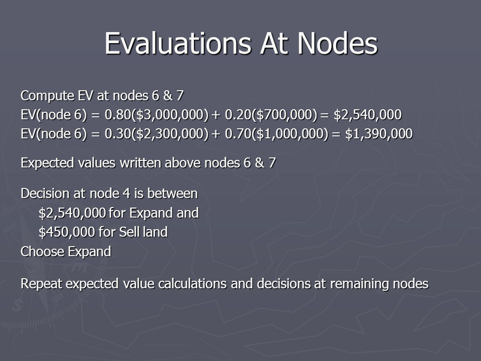 Evaluations At Nodes Compute EV at nodes 6 & 7