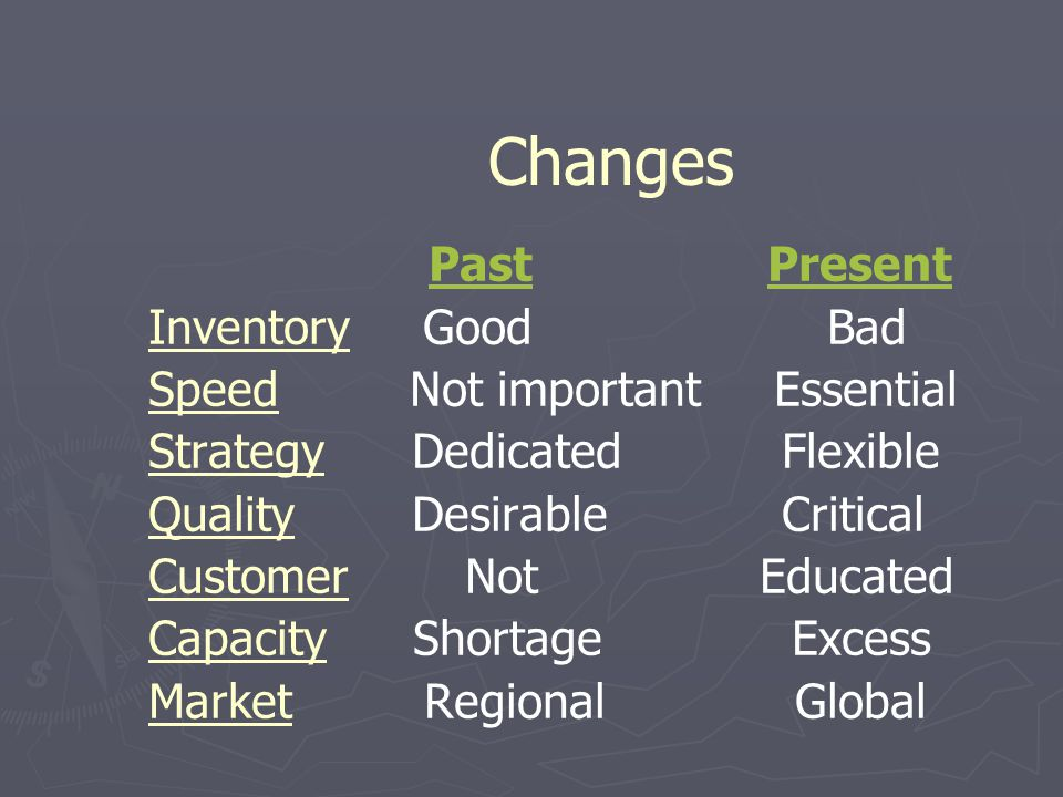 Changes Past Present Inventory Good Bad Speed Not important Essential