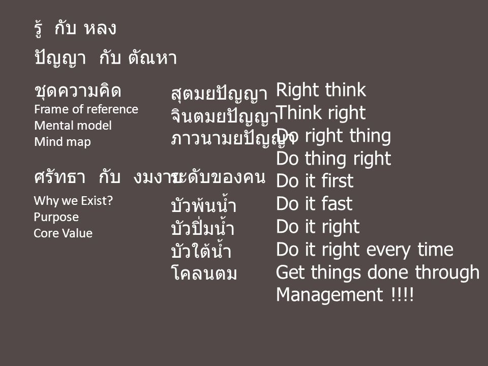 Get things done through people Management !!!! สุตมยปัญญา จินตมยปัญญา