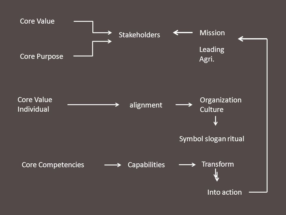 Core Value Mission. Stakeholders. Leading. Agri. Core Purpose. Core Value. Individual. Organization.