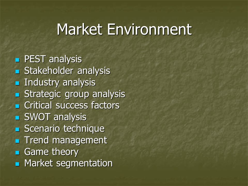Market Environment PEST analysis Stakeholder analysis