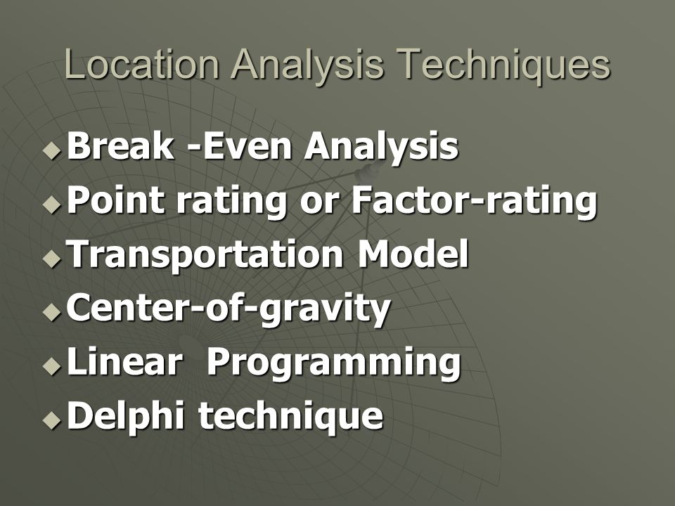 Location Analysis Techniques