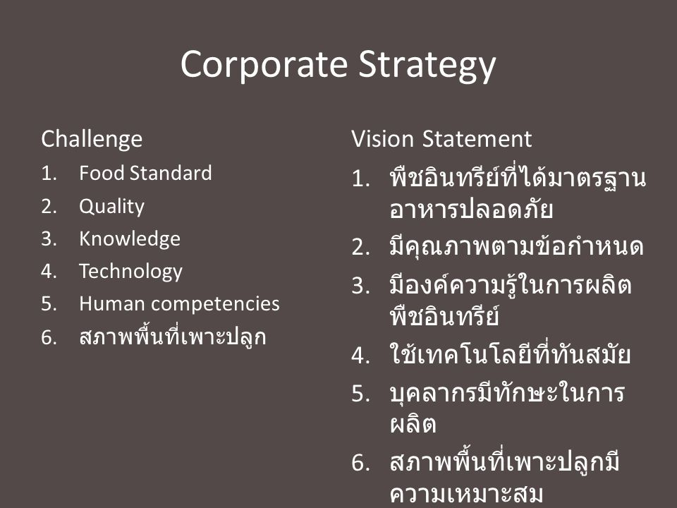 Corporate Strategy Challenge Vision Statement