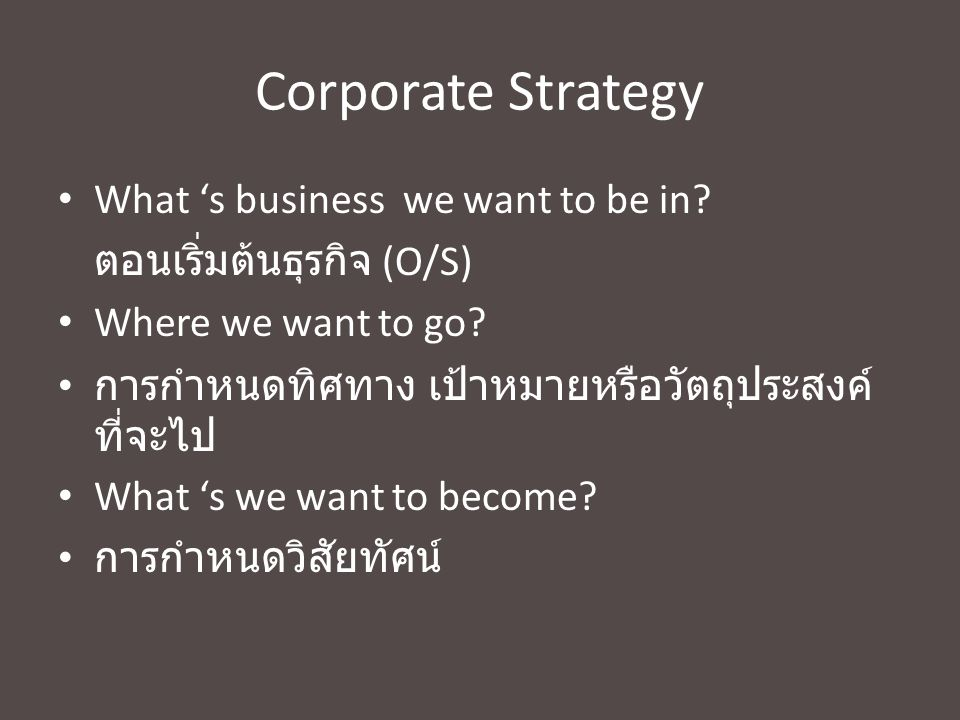 Corporate Strategy What 's business we want to be in