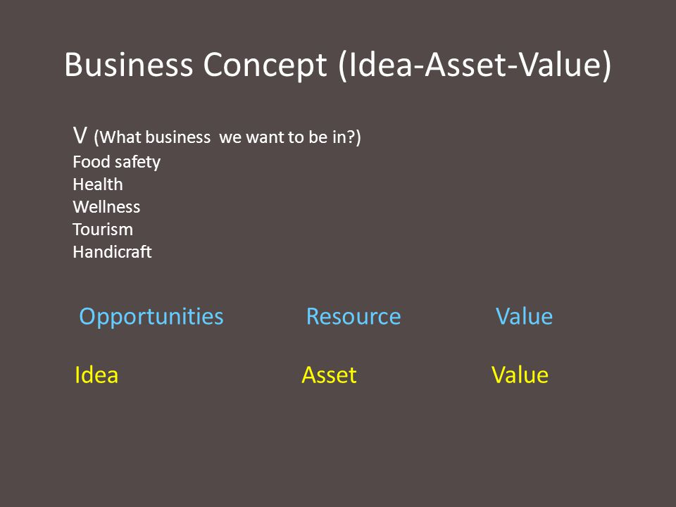 Business Concept (Idea-Asset-Value)