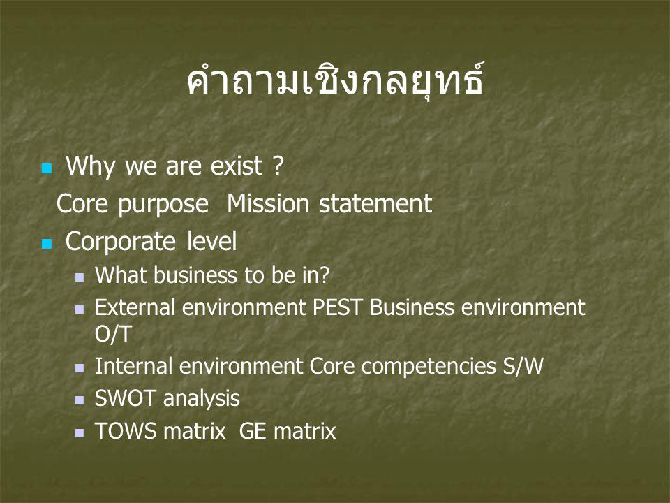คำถามเชิงกลยุทธ์ Why we are exist Core purpose Mission statement