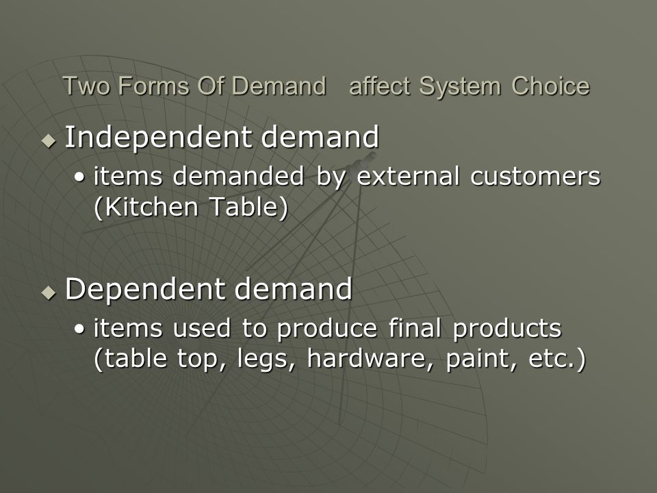 Two Forms Of Demand affect System Choice