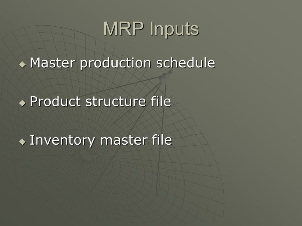 MRP Inputs Master production schedule Product structure file