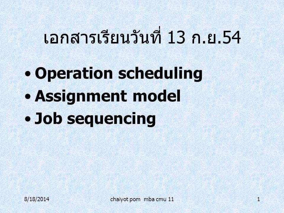 เอกสารเรียนวันที่ 13 ก.ย.54 Operation scheduling Assignment model
