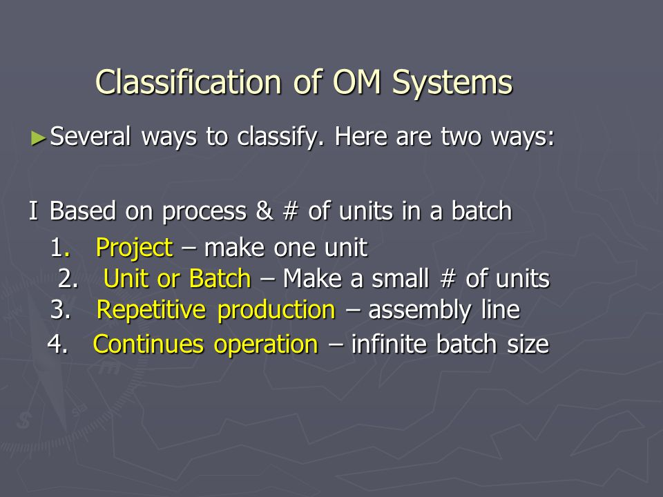Classification of OM Systems