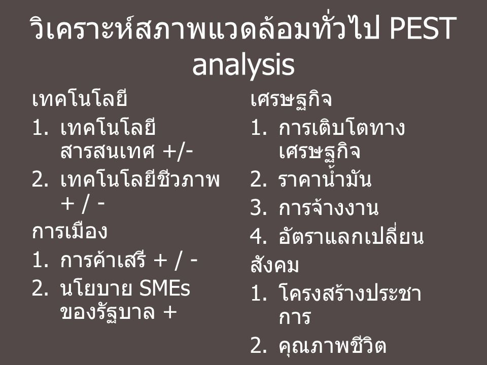 วิเคราะห์สภาพแวดล้อมทั่วไป PEST analysis