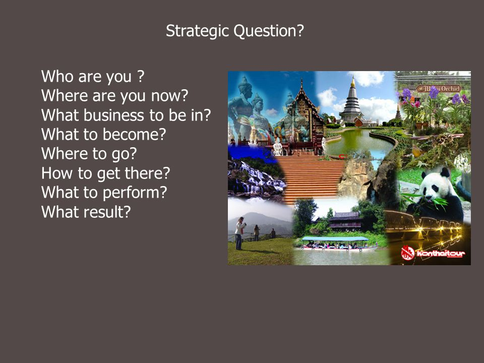 Strategic Question Who are you Where are you now What business to be in What to become Where to go