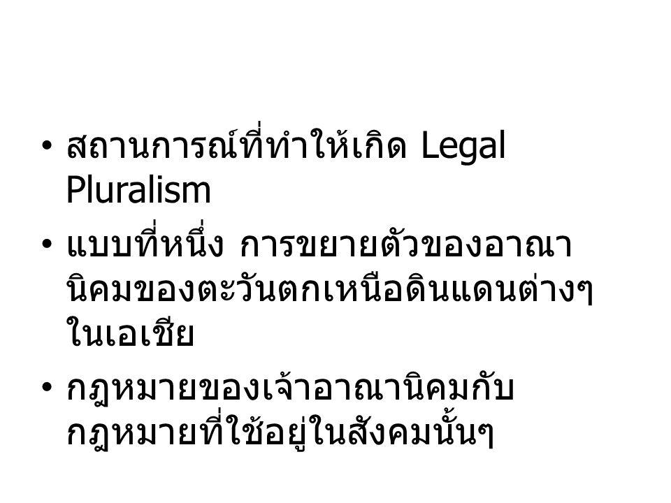 สถานการณ์ที่ทำให้เกิด Legal Pluralism