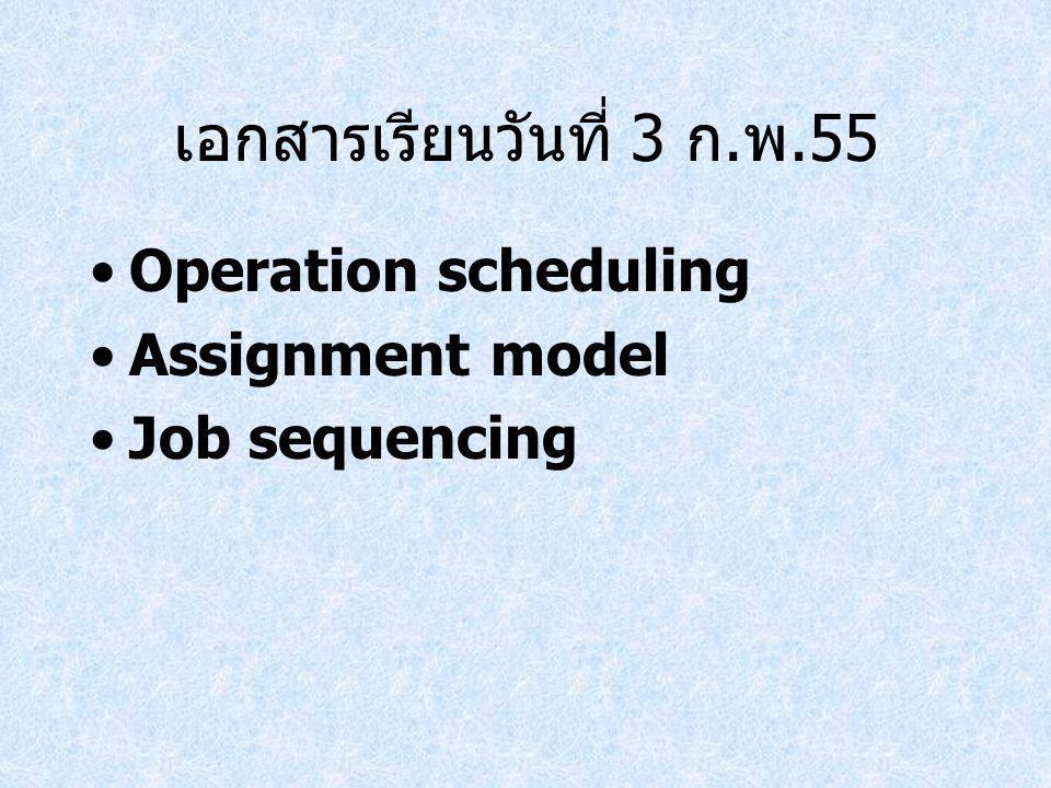 เอกสารเรียนวันที่ 3 ก.พ.55 Operation scheduling Assignment model