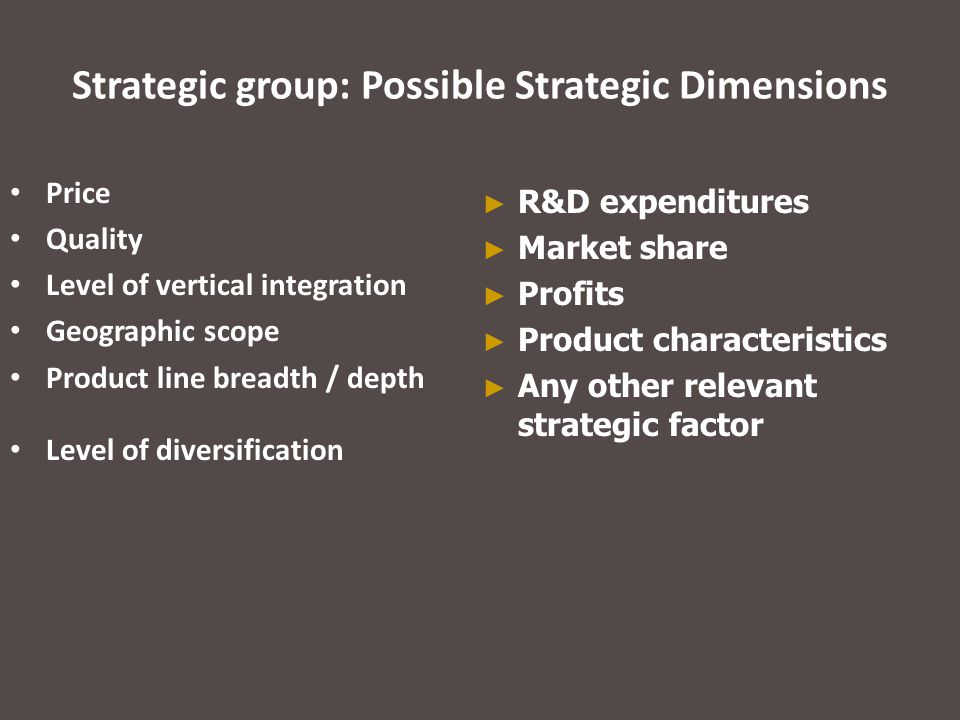 Strategic group: Possible Strategic Dimensions