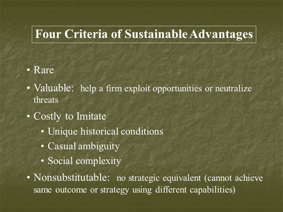 Four Criteria of Sustainable Advantages