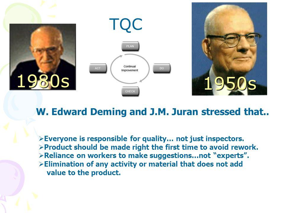 W. Edward Deming and J.M. Juran stressed that..