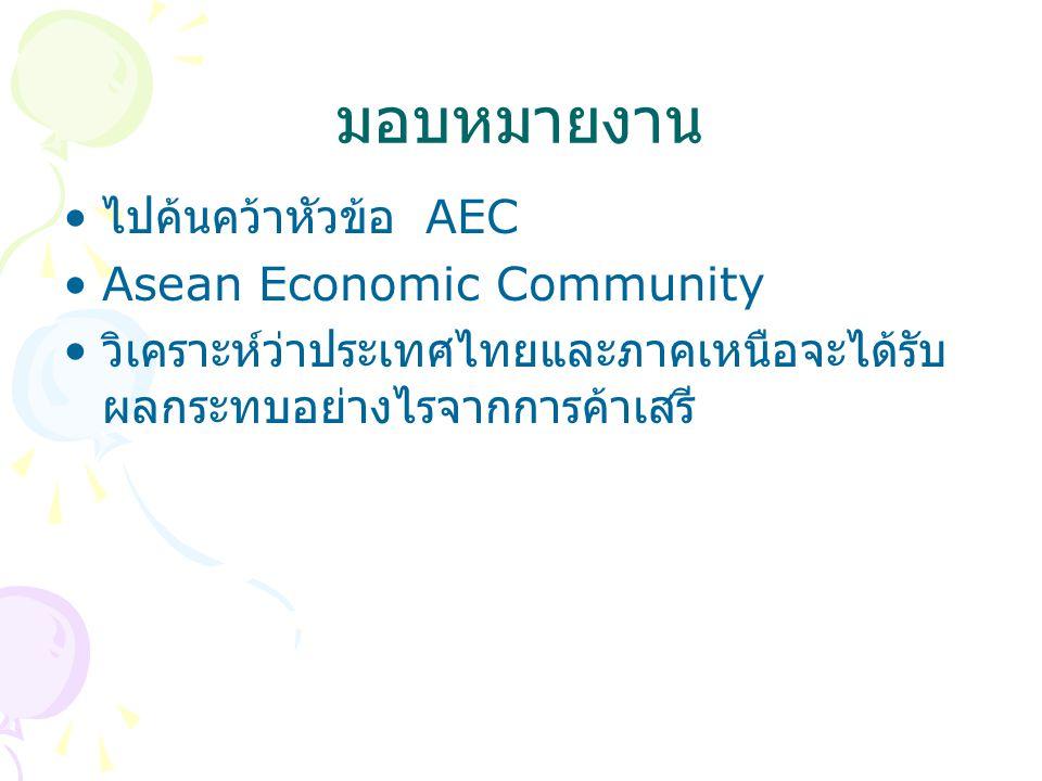 มอบหมายงาน ไปค้นคว้าหัวข้อ AEC Asean Economic Community