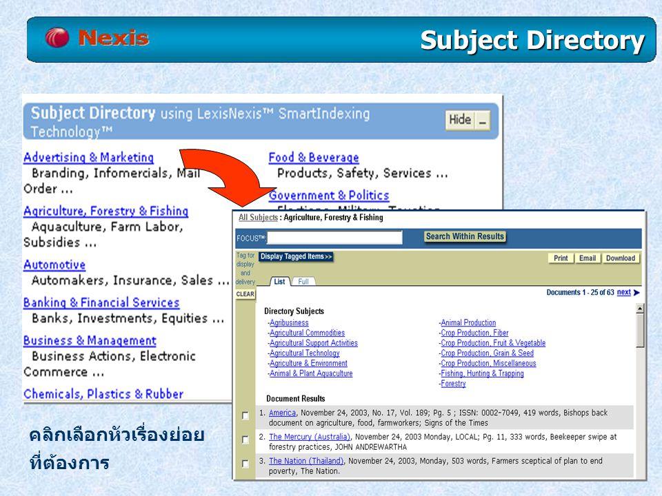 Subject Directory คลิกเลือกหัวเรื่องย่อย ที่ต้องการ