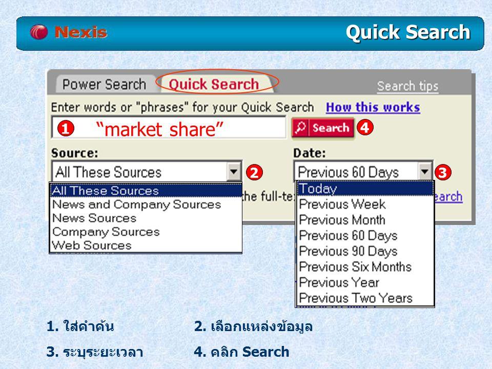 Quick Search market share 1 4 2 3 1. ใส่คำค้น 2. เลือกแหล่งข้อมูล