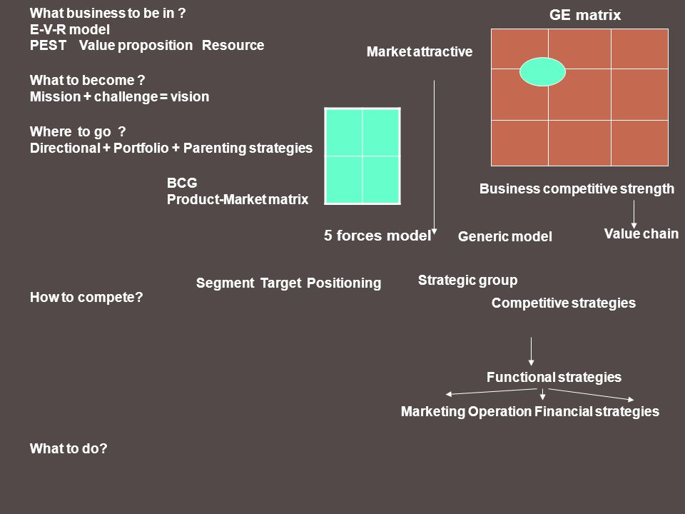 GE matrix 5 forces model What business to be in E-V-R model