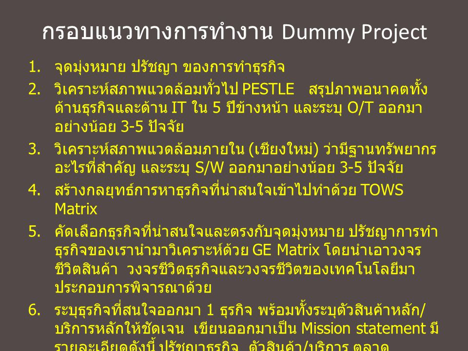 กรอบแนวทางการทำงาน Dummy Project