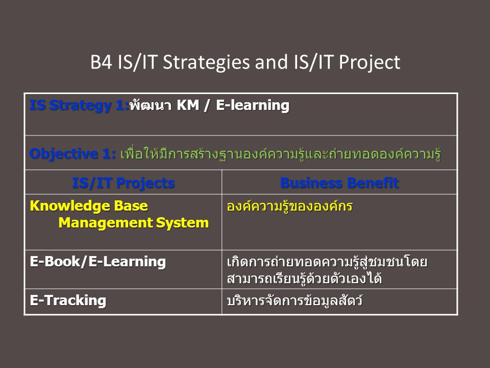 B4 IS/IT Strategies and IS/IT Project