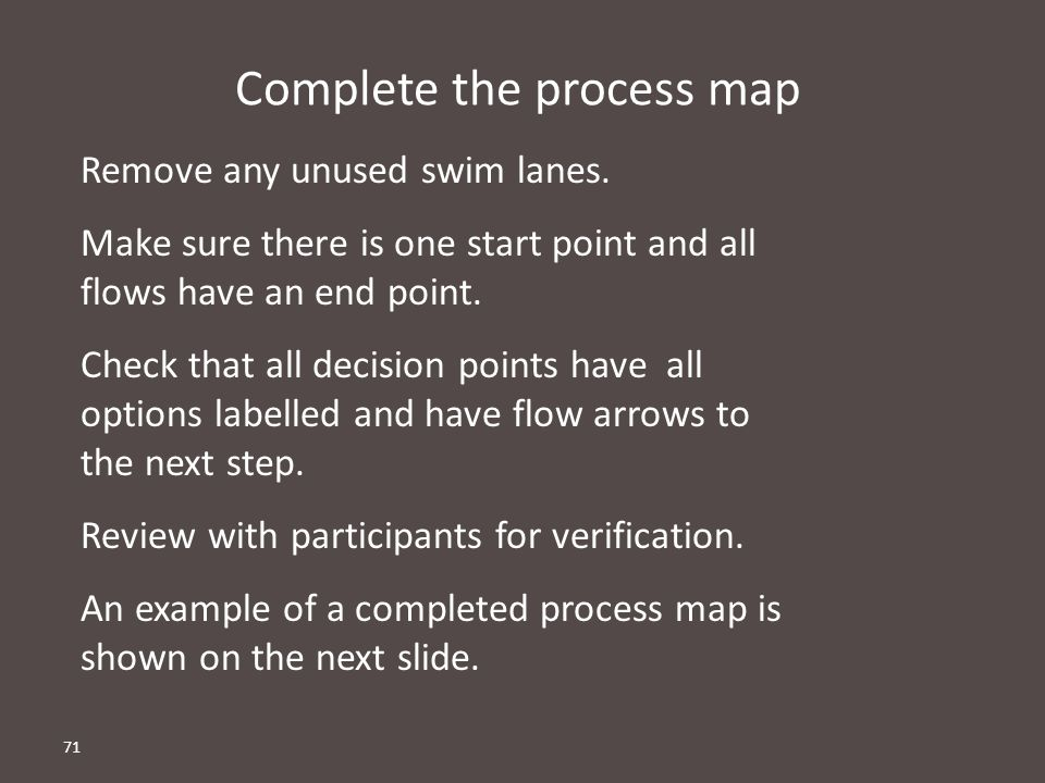Complete the process map