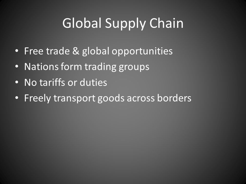 Global Supply Chain Free trade & global opportunities