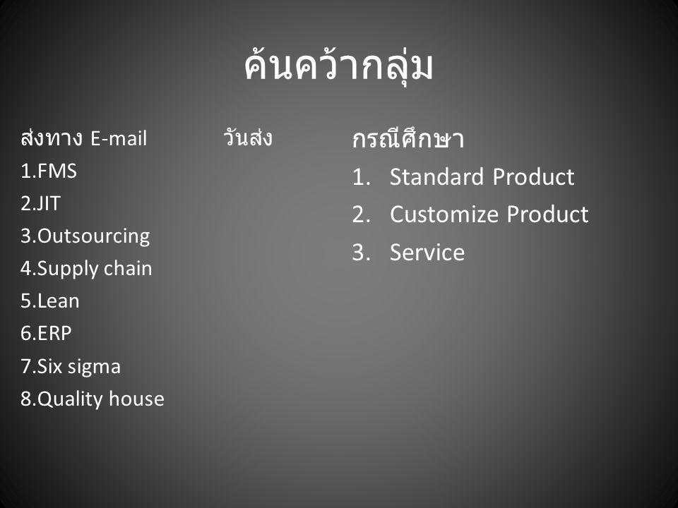 ค้นคว้ากลุ่ม กรณีศึกษา Standard Product Customize Product Service