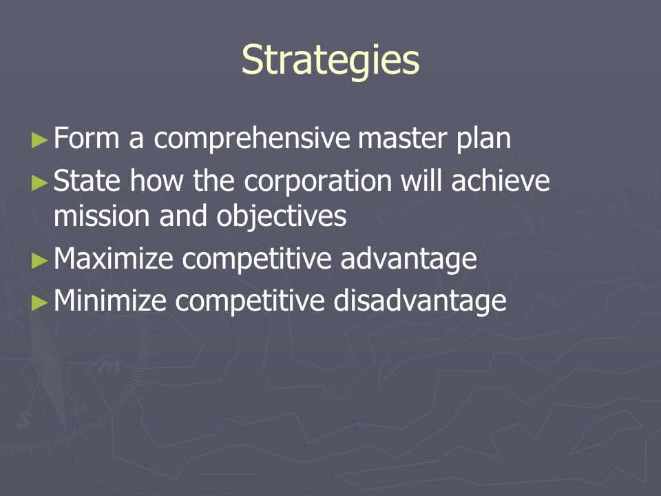 Strategies Form a comprehensive master plan