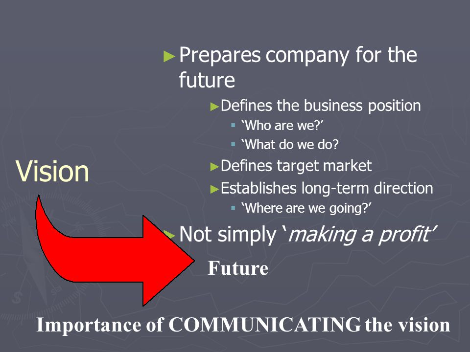 Vision Prepares company for the future Not simply 'making a profit'
