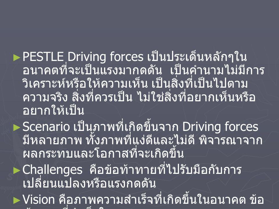 PESTLE Driving forces เป็นประเด็นหลักๆในอนาคตที่จะเป็นแรงมากดดัน เป็นคำนามไม่มีการวิเคราะห์หรือให้ความเห็น เป็นสิ่งที่เป็นไปตามความจริง สิ่งที่ควรเป็น ไม่ใช่สิ่งที่อยากเห็นหรืออยากให้เป็น