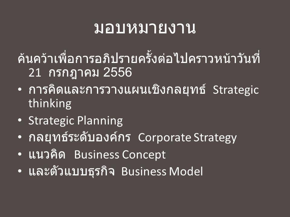 มอบหมายงาน ค้นคว้าเพื่อการอภิปรายครั้งต่อไปคราวหน้าวันที่ 21 กรกฎาคม 2556. การคิดและการวางแผนเชิงกลยุทธ์ Strategic thinking.