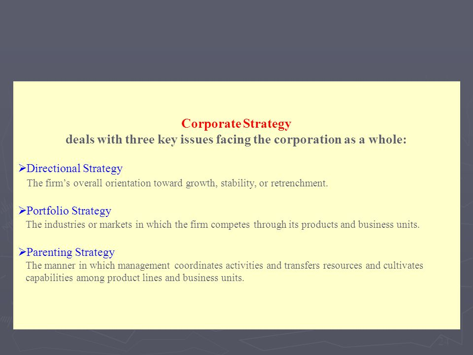 deals with three key issues facing the corporation as a whole:
