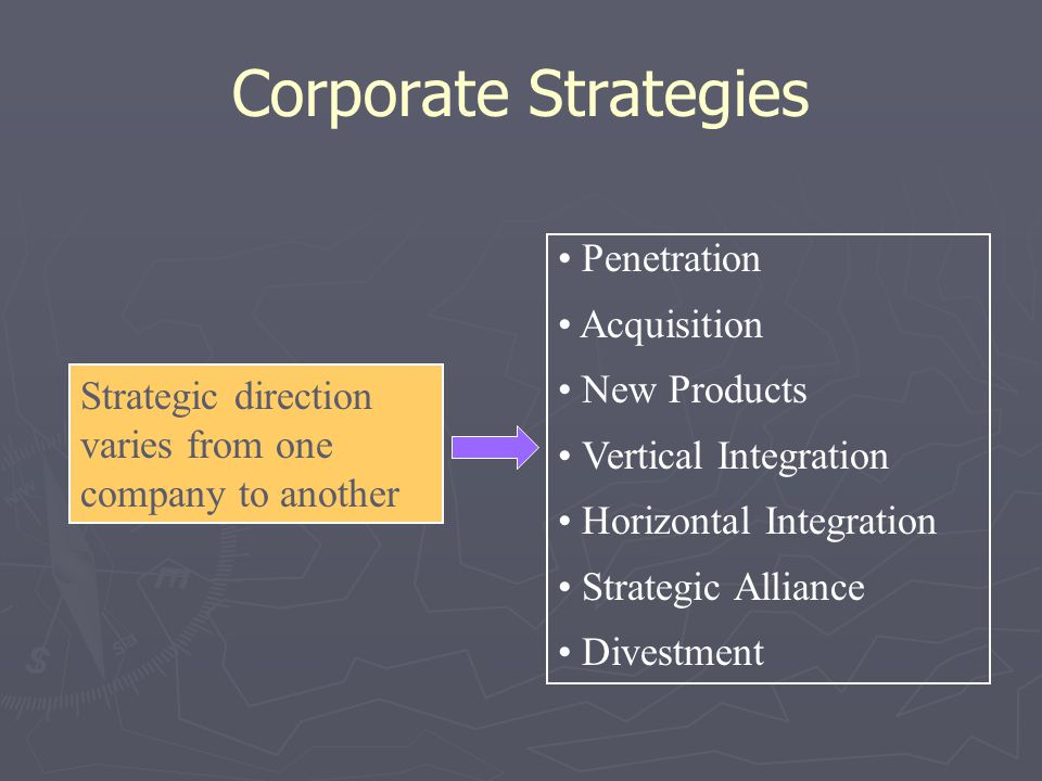 Corporate Strategies Penetration Acquisition New Products