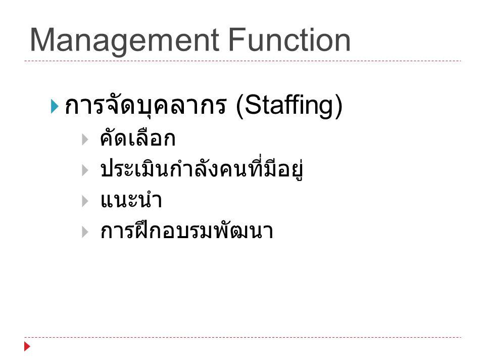 Management Function การจัดบุคลากร (Staffing) คัดเลือก