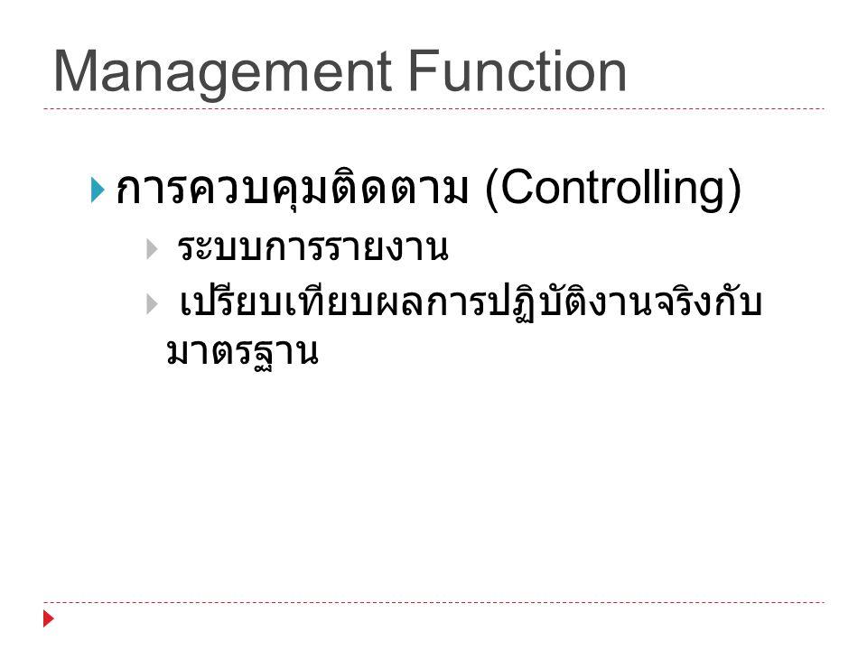 Management Function การควบคุมติดตาม (Controlling) ระบบการรายงาน