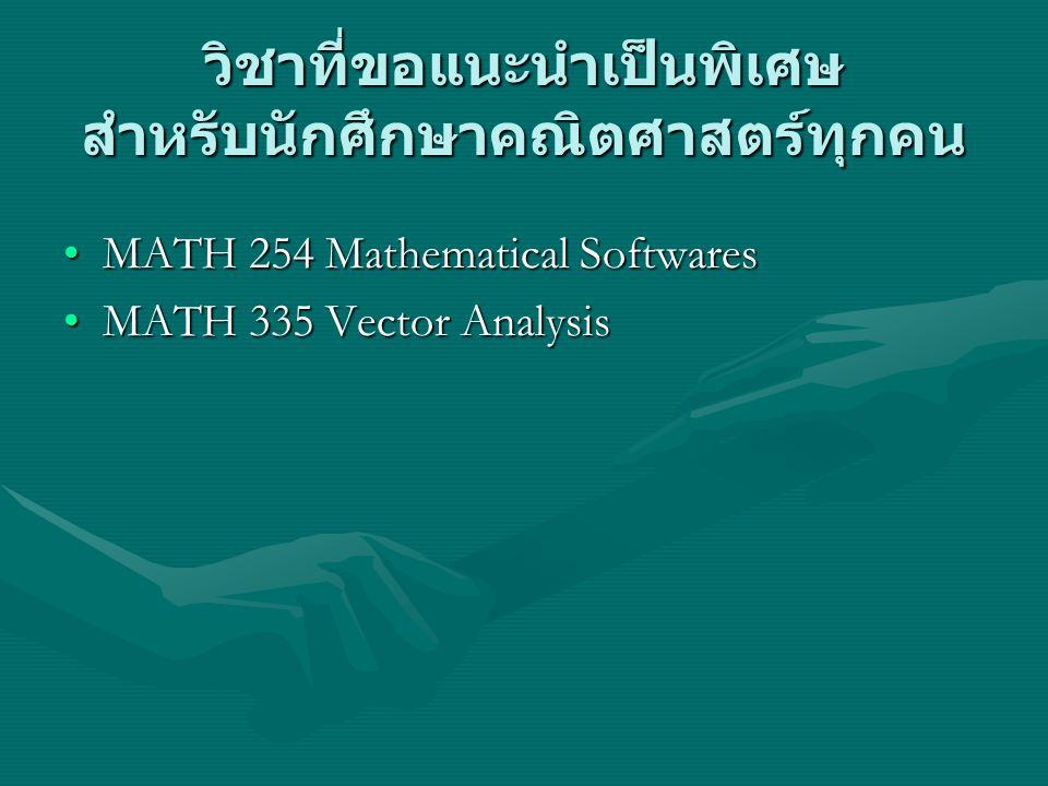 วิชาที่ขอแนะนำเป็นพิเศษ สำหรับนักศึกษาคณิตศาสตร์ทุกคน