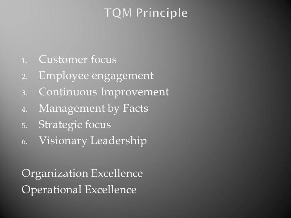 TQM Principle Customer focus Employee engagement