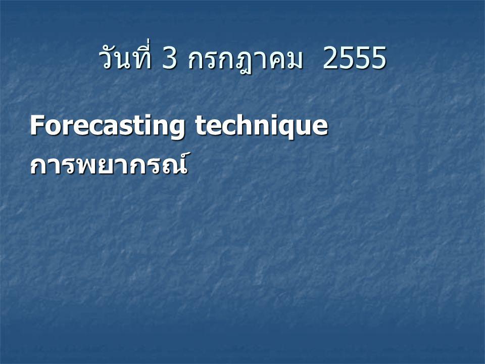 วันที่ 3 กรกฎาคม 2555 Forecasting technique การพยากรณ์